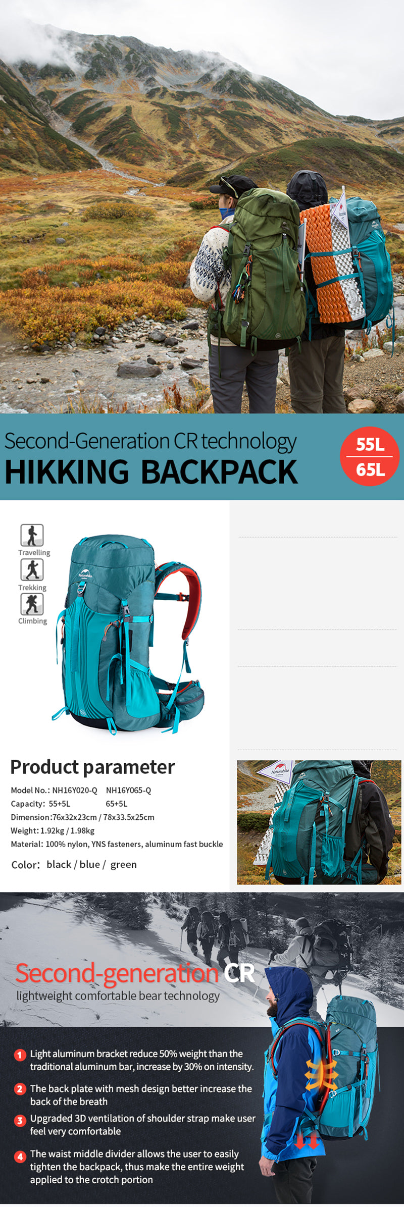 Professional Hiking Suspension System Backpack, Professional Hiking Suspension System Backpack, Falattar Store