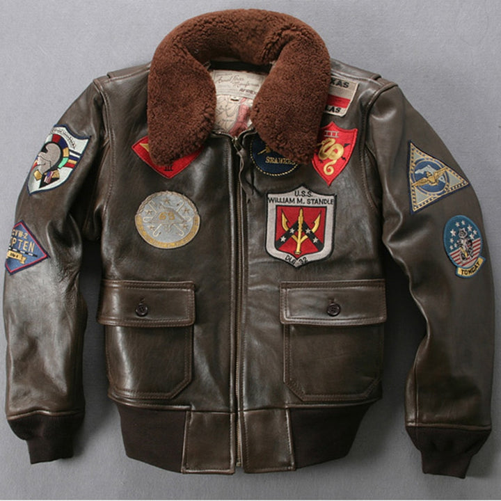 Fly Fur Collar Genuine Leather Jacket