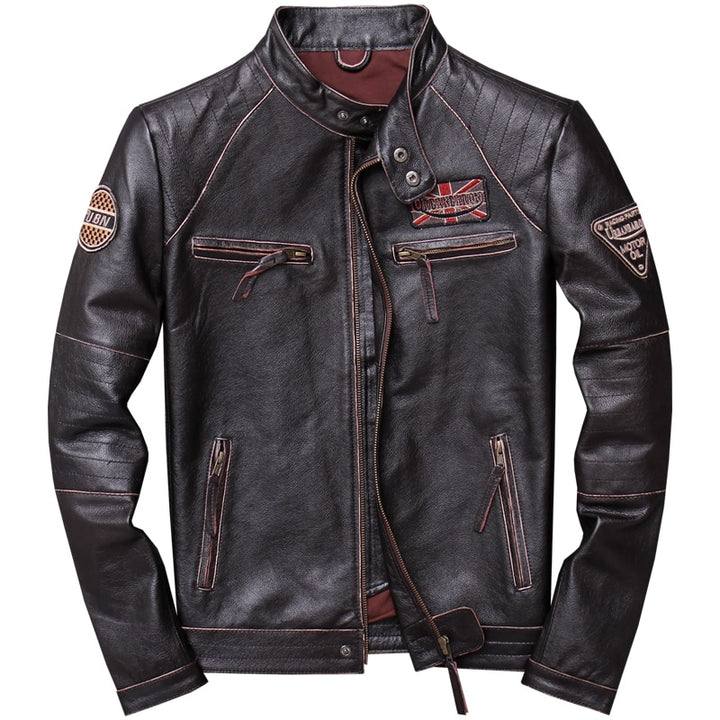 Vintage Slim Fit Motorcycle Leather Jacket