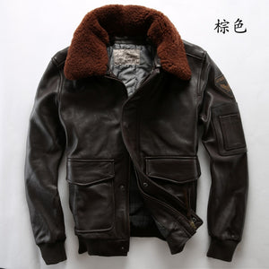 Flight Cowskin Leather with Fur Collar Jacket