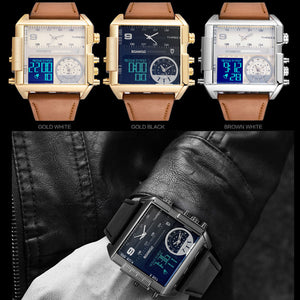 LED Fashion 3 Time Zone Leather Watch