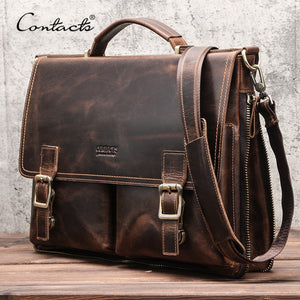 Leather Shoulder Laptop Messenger Bag
