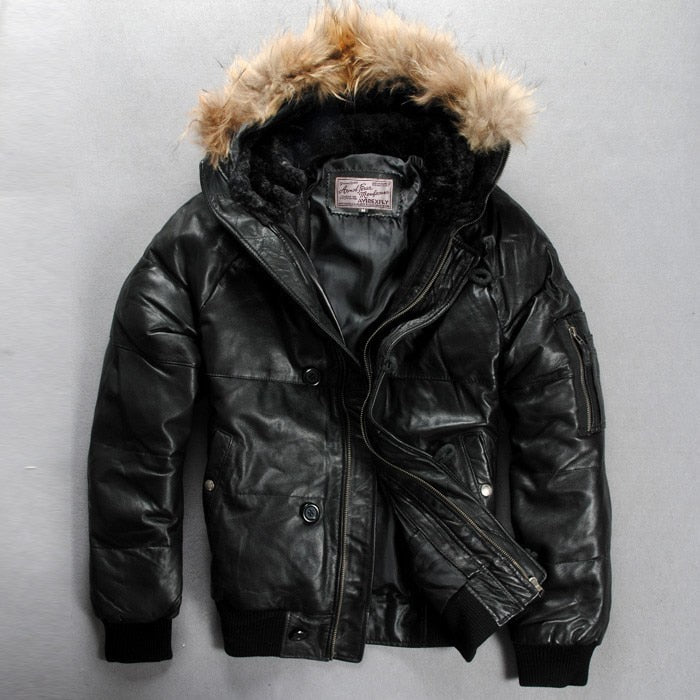 Fly Hooded Genuine Leather Down Jacket