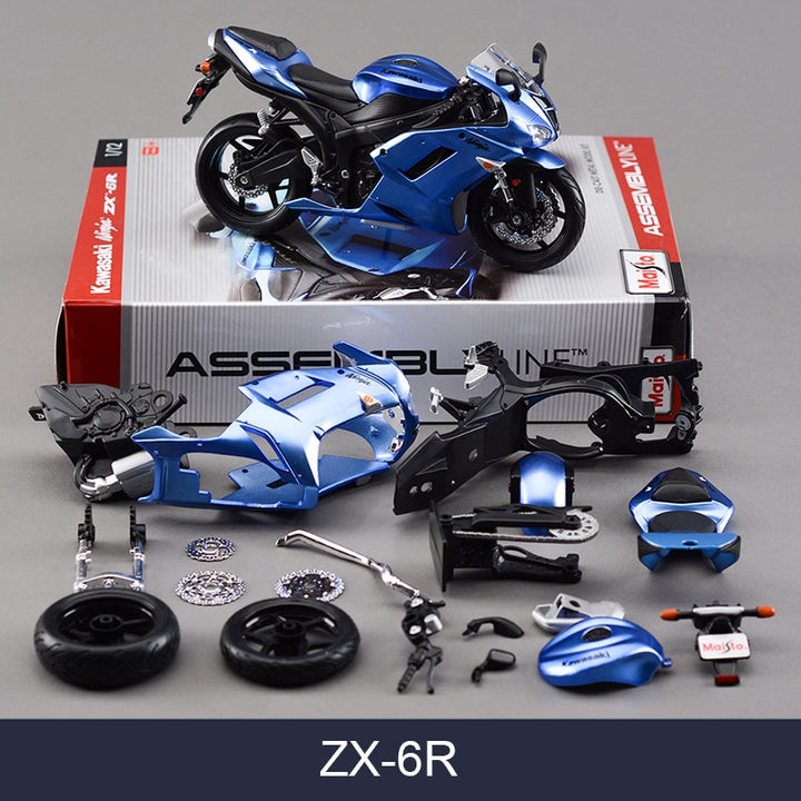 Kawasaki ZX6R Blue Motorcycle Model Kit
