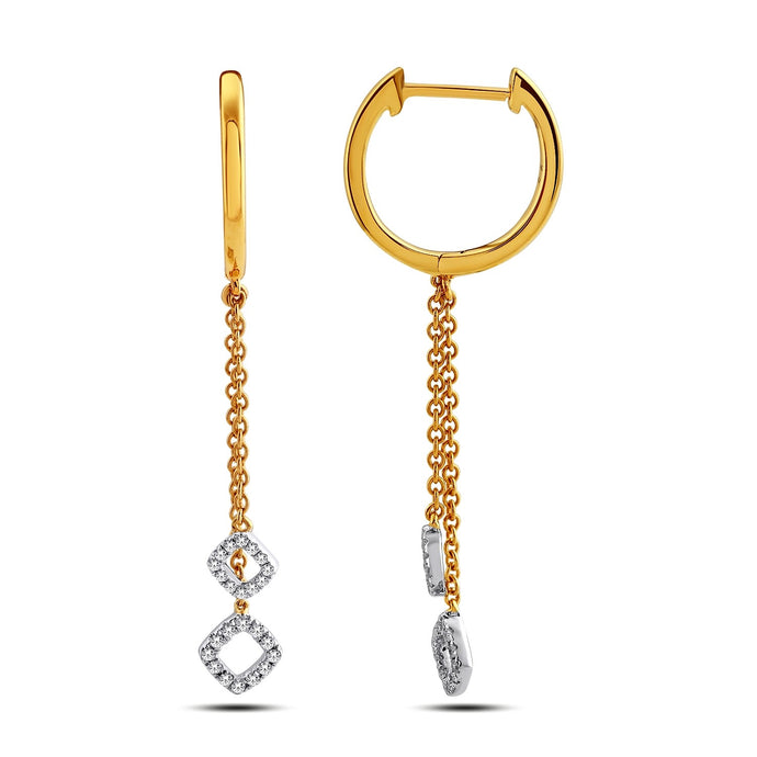Dangling Diamond Hoop Earrings with square patterns