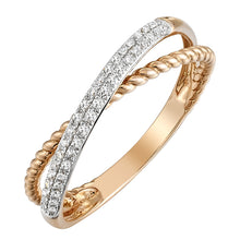 Load image into Gallery viewer, Diamond Crossover Braided Ring