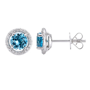 Diamond Halo Blue Topaz Earrings