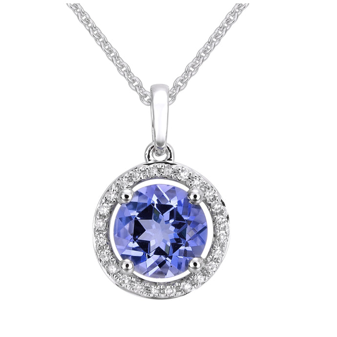 Tanzanite Diamond Halo Necklace