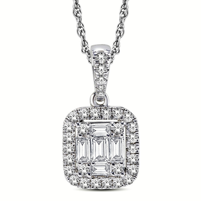 Diamond Halo Emerald-cut Necklace