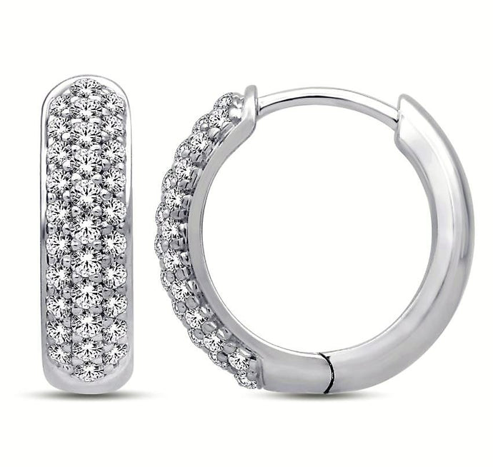 Diamond  Three Row Huggie Earrings