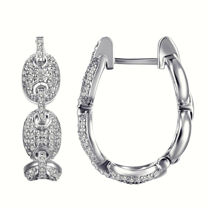 Diamond Pavé Coffee Bean Link Hoop Earrings