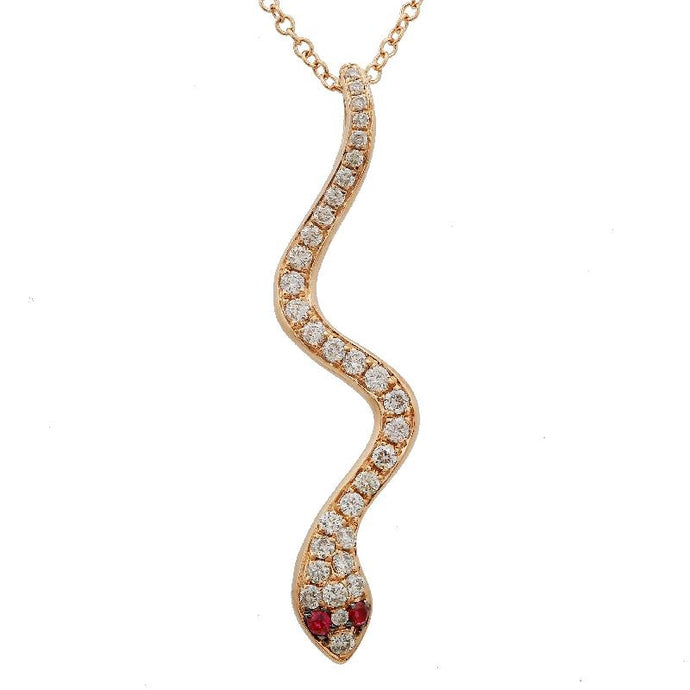 Diamond & Ruby Rose Gold Snake Necklace