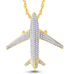 Diamond Airplane Pendant