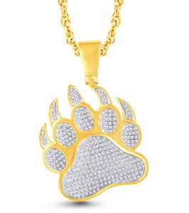 Diamond Bear Paw Footprint Pendant