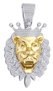 Diamond Crown Lion Head Pendant
