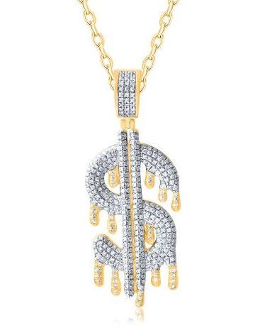 Diamond Dripping Dollar Sign Pendant