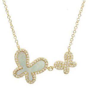 Diamond Mother of Pearl Butterfly Necklace