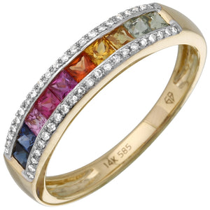 Diamond Rainbow Semi-Eternity Ring