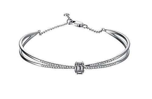 Diamond Criss-Cross Baguette Bangle