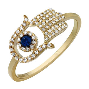 Blue Signature Hamsa Ring