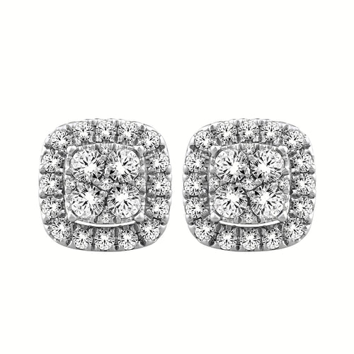 Cushion Style Halo Diamond Stud Earrings