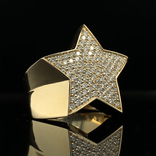 10K Signature Collection Yellow Gold Star Ring Set 1.00ct Of VS Diamonds