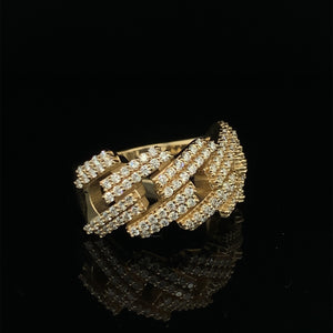 10K Signature Collection Yellow Gold Cuban Link Prong Set Ring 1.40ct Of VS Diamonds