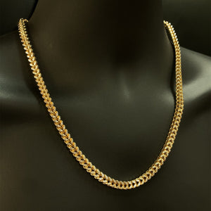 10kt Yellow Gold Diamond Cut Franco Link Chain 6 mm 22 Inches
