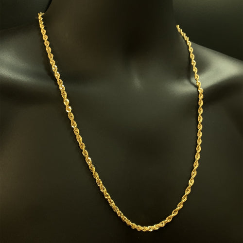 10kt Yellow Gold Rope Link Chain 4.5 mm 26 Inches