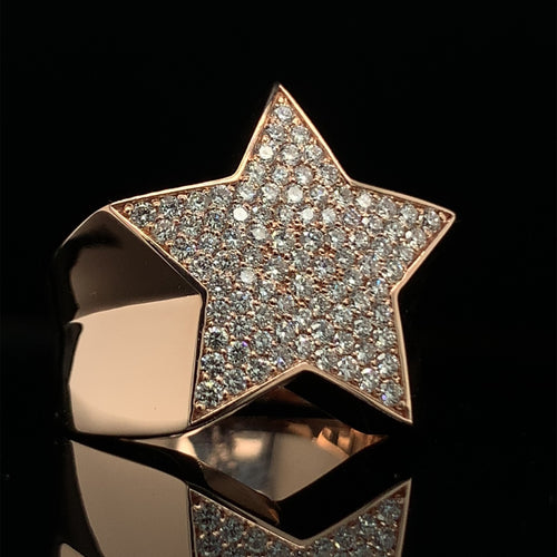 10K Signature Collection Rose Gold Star Ring Set 1.00ct Of VS Diamonds