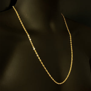 10kt Yellow Gold Rope Link Chain 3.5 mm 26 Inches