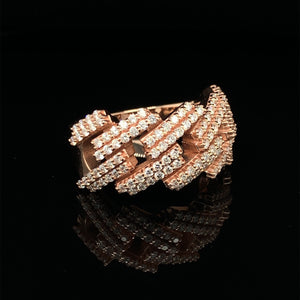 10K Signature Collection Rose Gold Cuban Link Prong Set Ring 1.40ct Of VS Diamonds