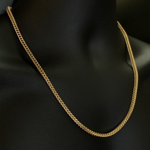 10kt Yellow Gold Diamond Cut Franco Link Chain 3.5 mm 22 Inches