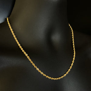 10kt Yellow Gold Rope Link Chain 3 mm 20 Inches
