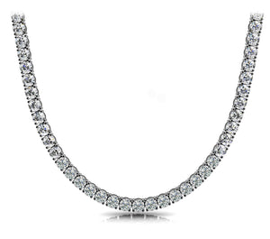 Four Prong White Gold 14Kt Diamond Tennis Necklace
