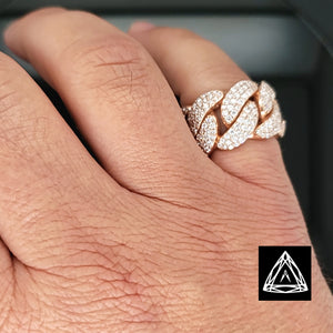 10k Rose Gold Men's Diamond Cuban Ring 3.25ct