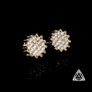 10k Yellow Gold Men's Diamond Earrings 1ct