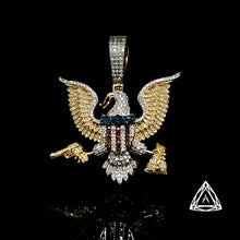 Load image into Gallery viewer, 10kt Yellow Gold White & Color Diamond Eagle pendant