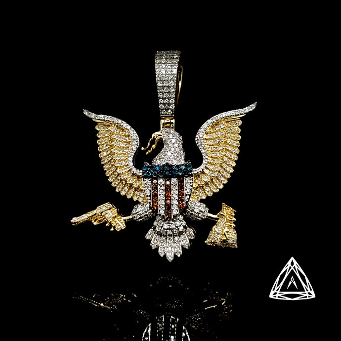10kt Yellow Gold White & Color Diamond Eagle pendant