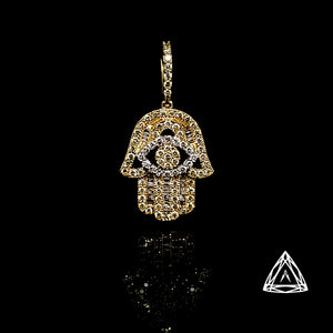 10kt WHite & Yellow Diamond Hamza pendant