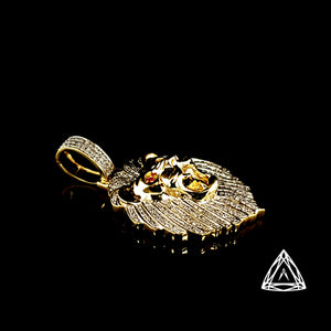 10kt Yellow Diamond Lion Pendant