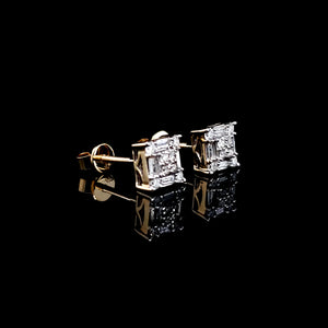 10kt Yellow Gold Square Baguette Diamond Studs