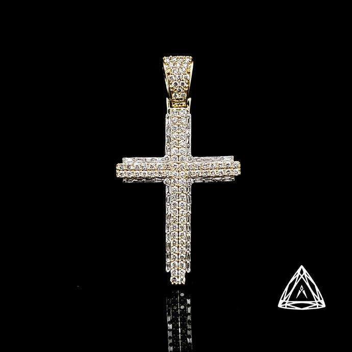 10kt Gold Yellow Gold Cross Diamond Baguettes and Rounds