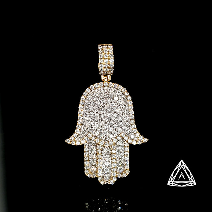 10kt Yellow large Diamond Hamza Pendant