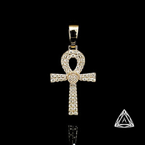 10kt Yellow Gold Diamond  Anch Cross