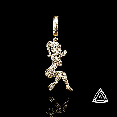 10kt Yellow Gold Diamond Barbie Doll Pendant