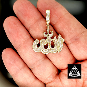 10kt Yellow Gold Allah Diamond Pendant