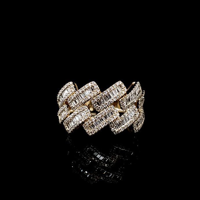 10kt Yellow Gold Baguette cuban ring