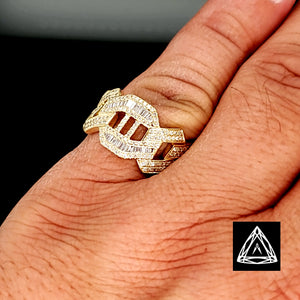 10kt Yellow Gold Marina Cuban Baguette Diamond Ring
