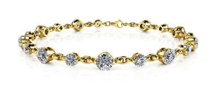 Alternating Diamond And Chain Link Bracelet